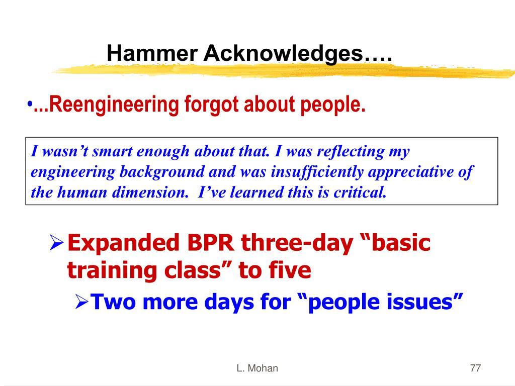 Hammer Acknowledges….