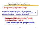 hammer acknowledges