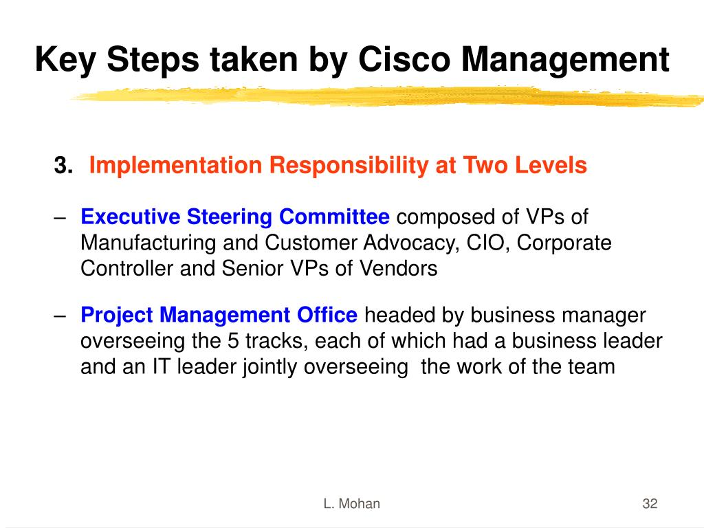 Key Steps taken by Cisco Management