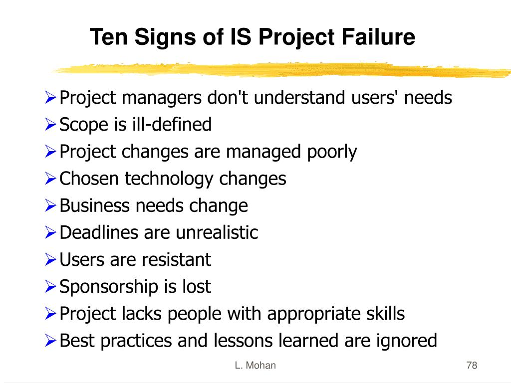 Ten Signs of IS Project Failure