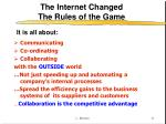 the internet changed the rules of the game