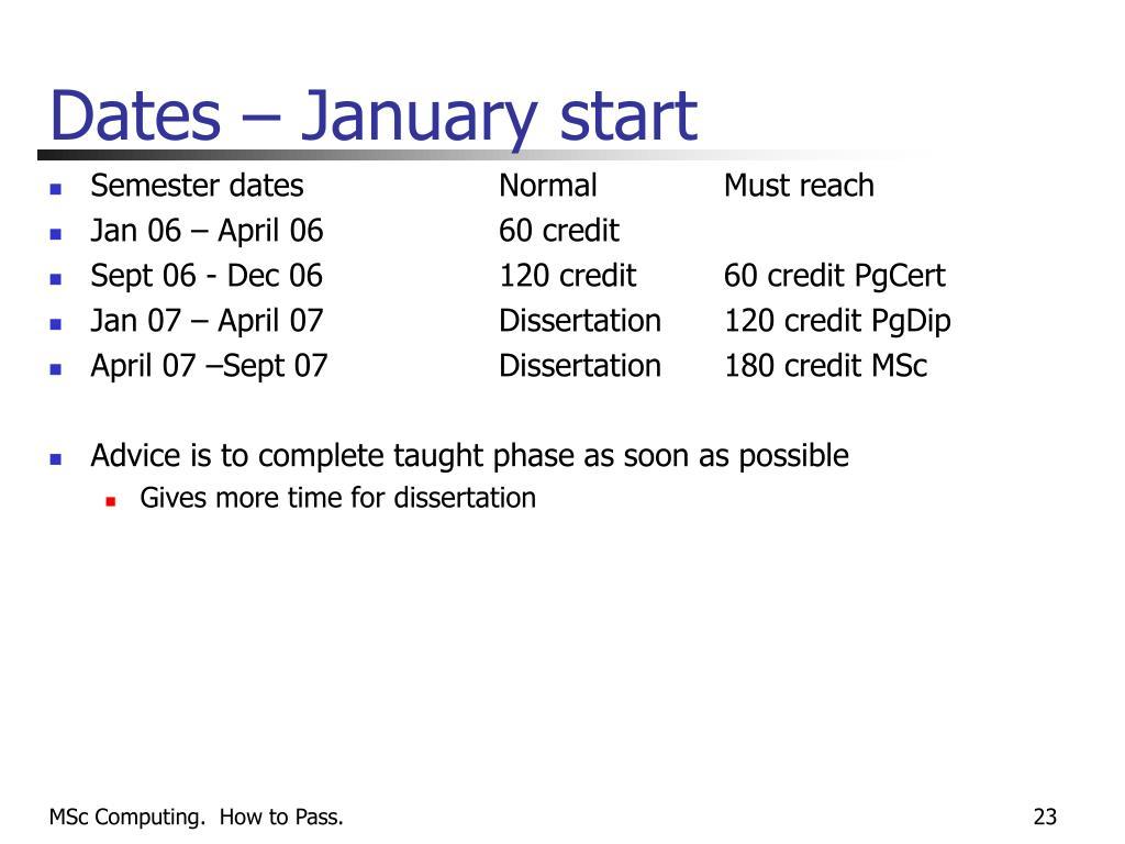 Dates – January start