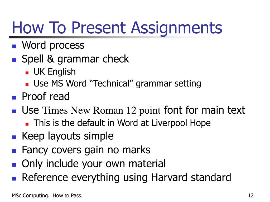 How To Present Assignments