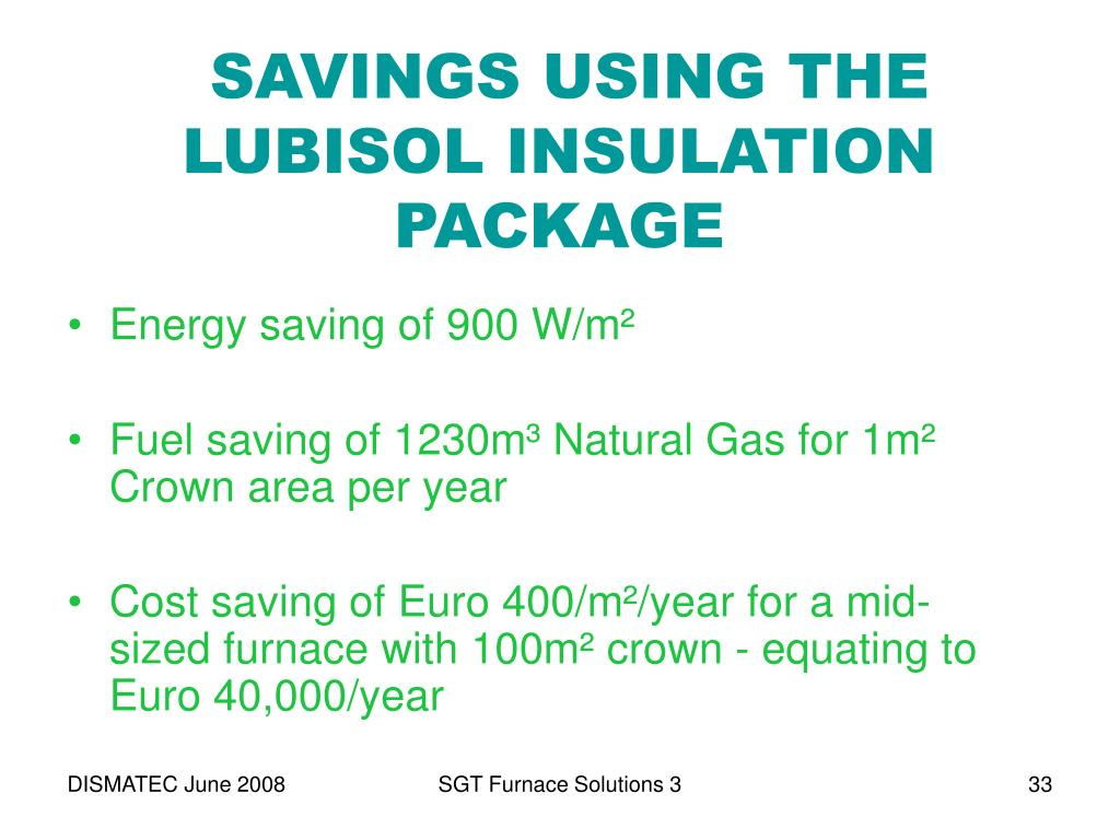 SAVINGS USING THE LUBISOL INSULATION PACKAGE