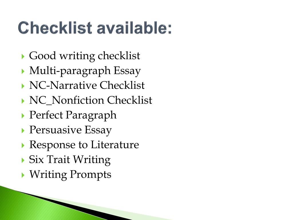 essay writers checklist To help you avoid common writing mistakes & edit your work, refer to this checklist taken from the writer's little helper.