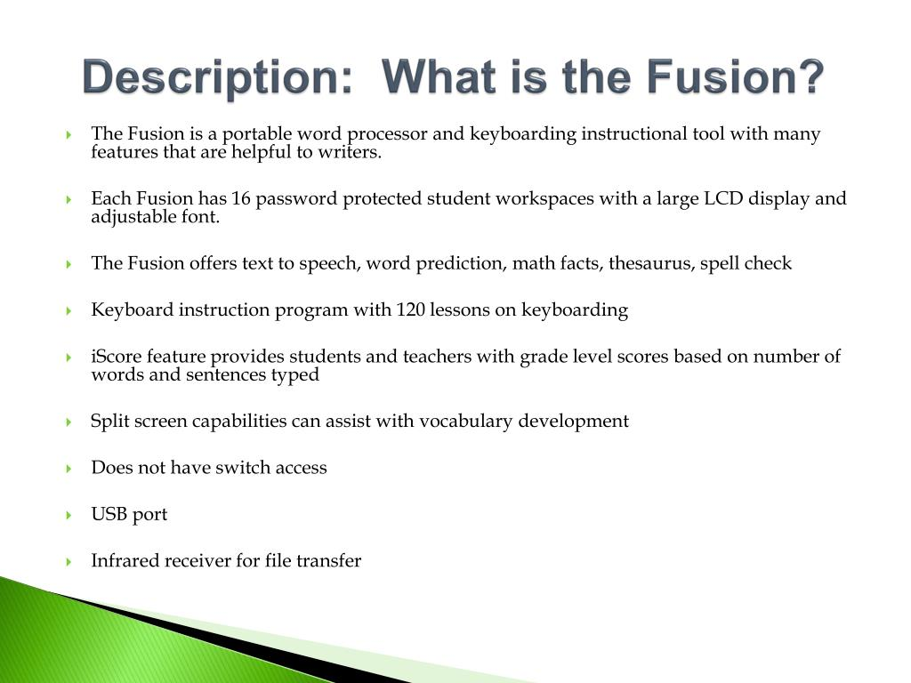 Description:  What is the Fusion?