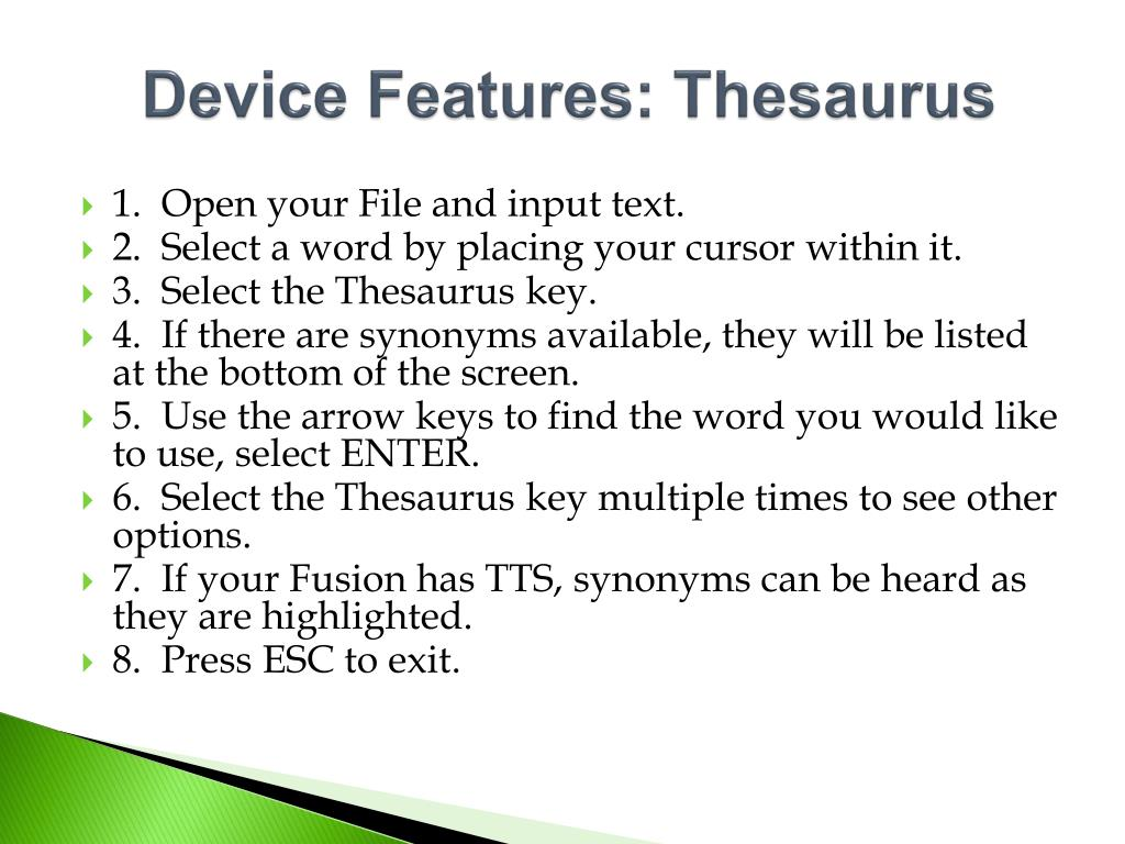 Device Features: Thesaurus