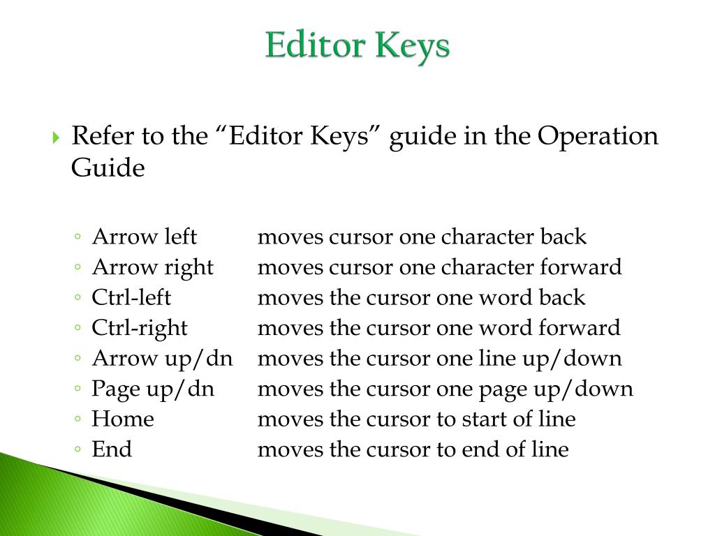 Editor Keys