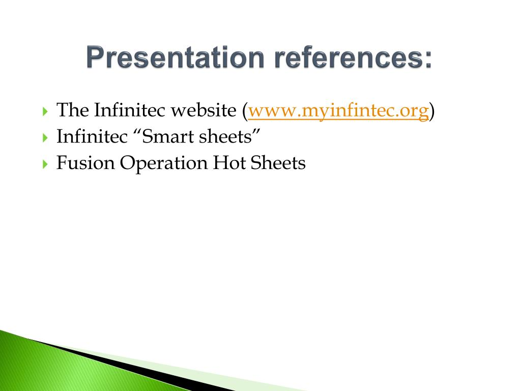 Presentation references: