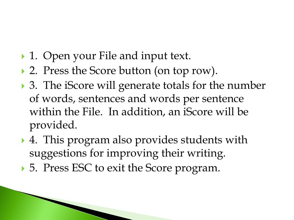 1.  Open your File and input text.
