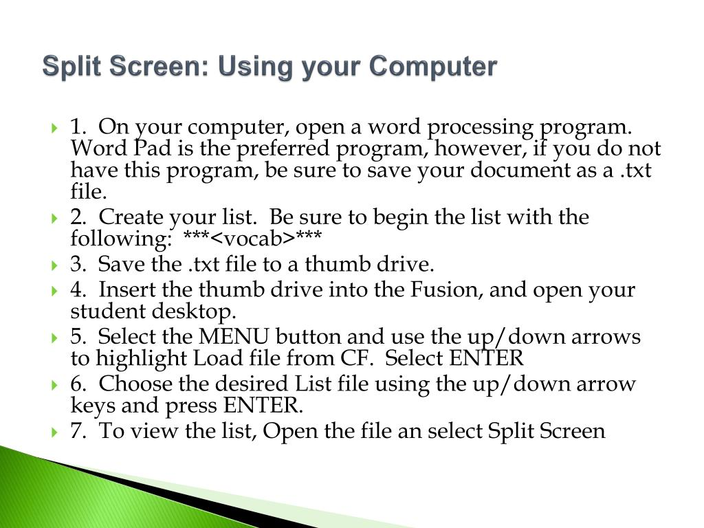 Split Screen: Using your Computer