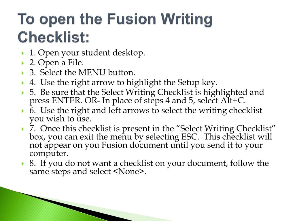 To open the Fusion Writing Checklist: