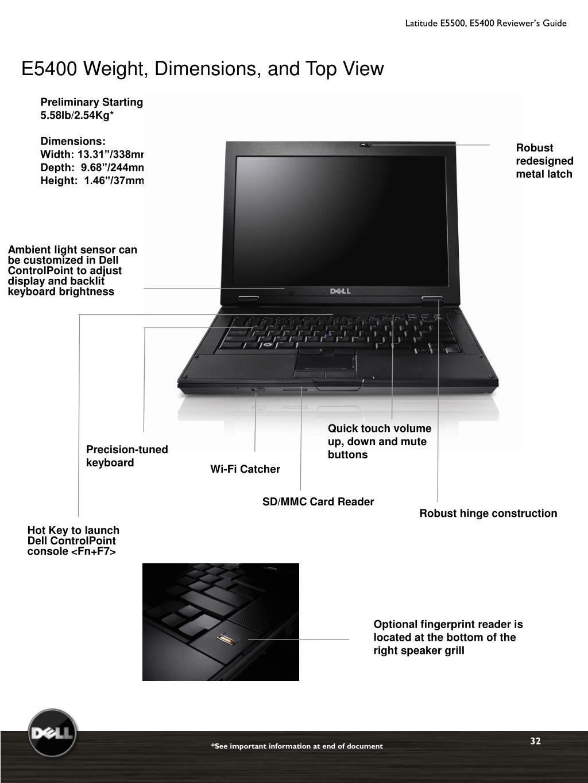 Latitude E5500, E5400 Reviewer's Guide