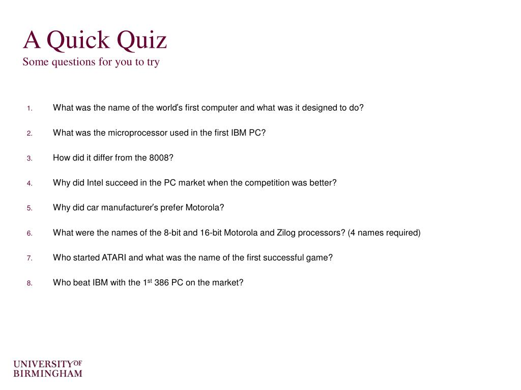 A Quick Quiz