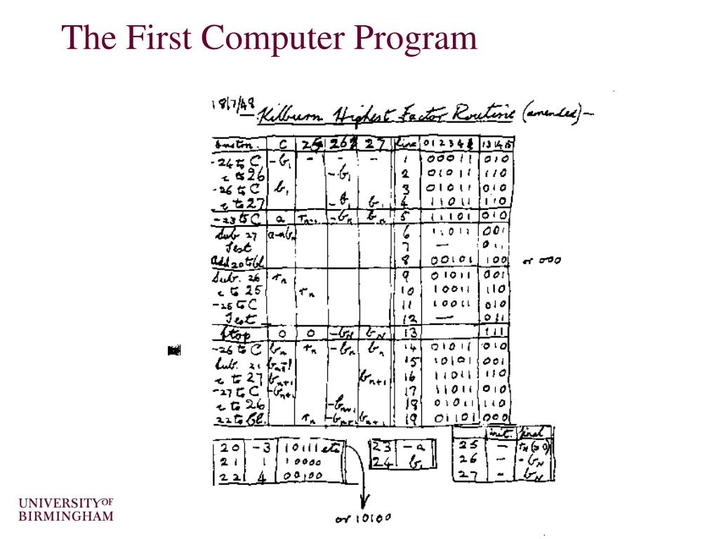 The First Computer Program