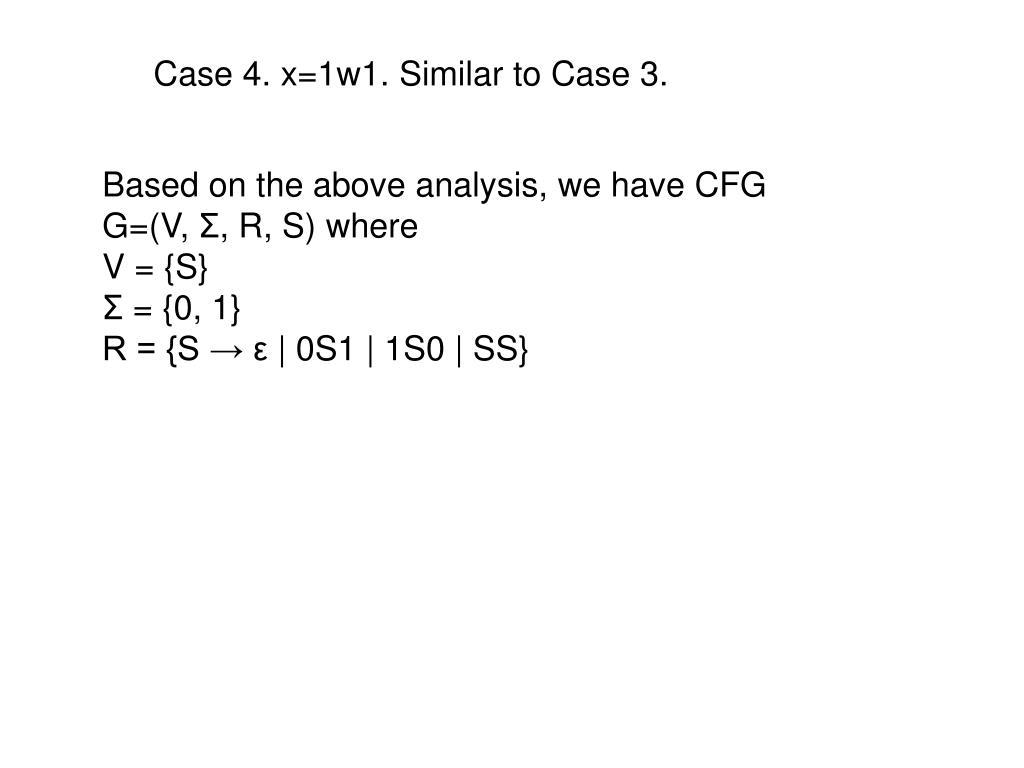 Case 4. x=1w1. Similar to Case 3.