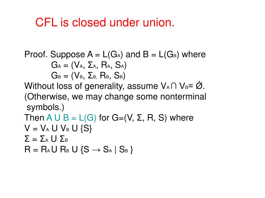 CFL is closed under union.