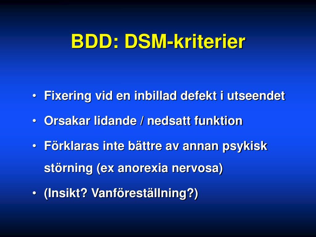 BDD: DSM-kriterier