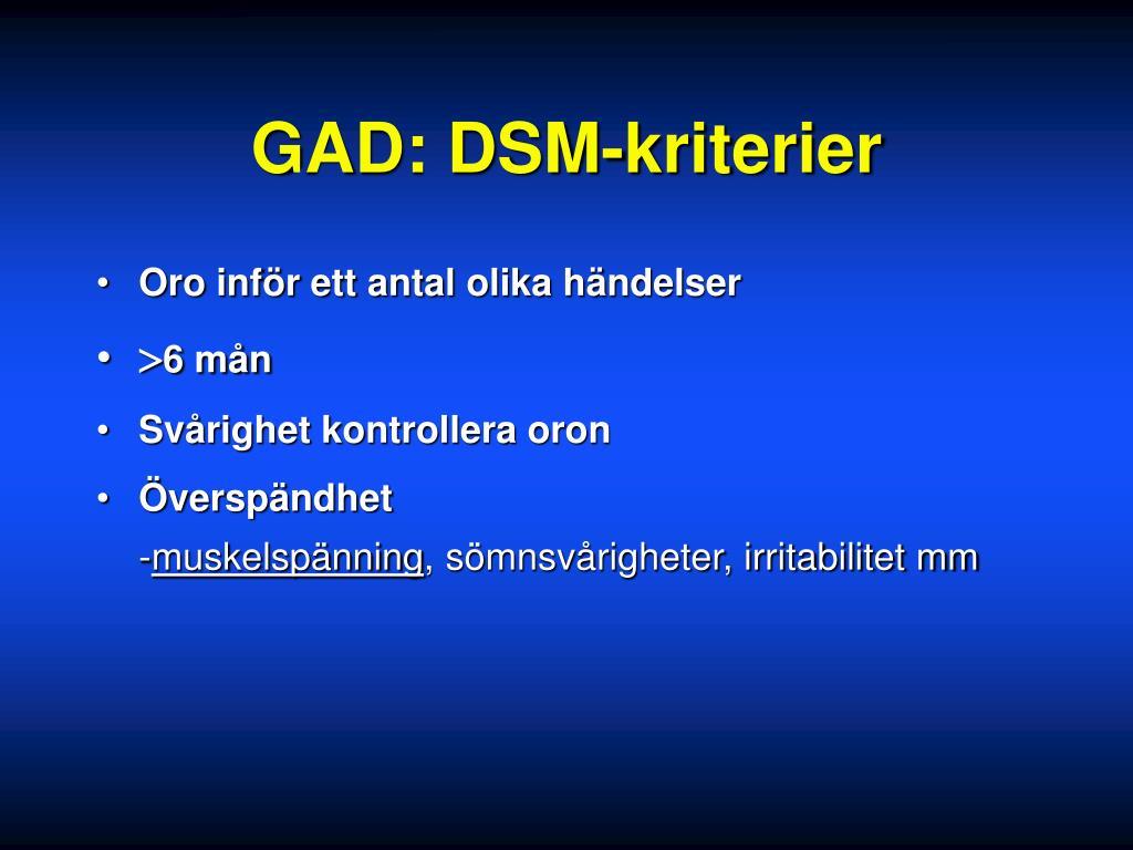 GAD: DSM-kriterier