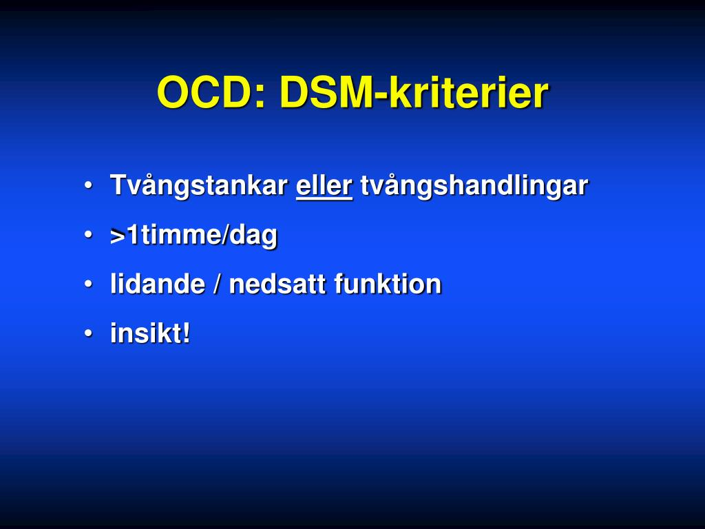 OCD: DSM-kriterier