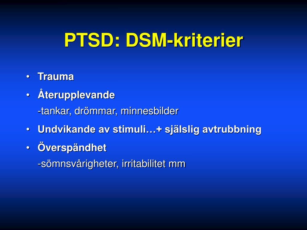 PTSD: DSM-kriterier