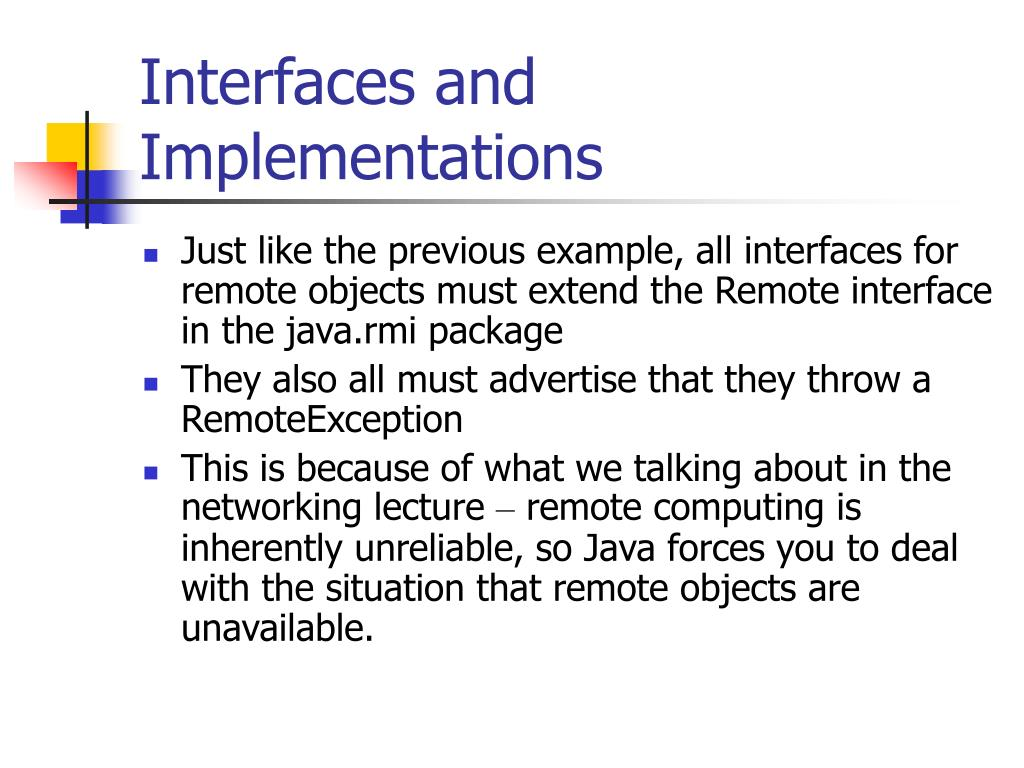 Interfaces and Implementations