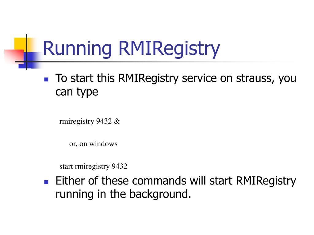 Running RMIRegistry