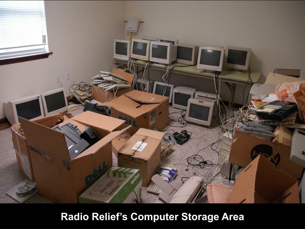 Radio Relief's Computer Storage Area