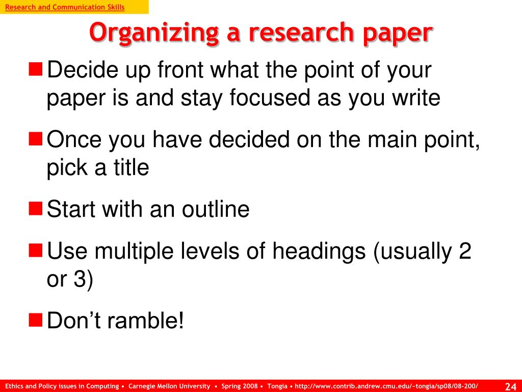 Research and Communication Skills