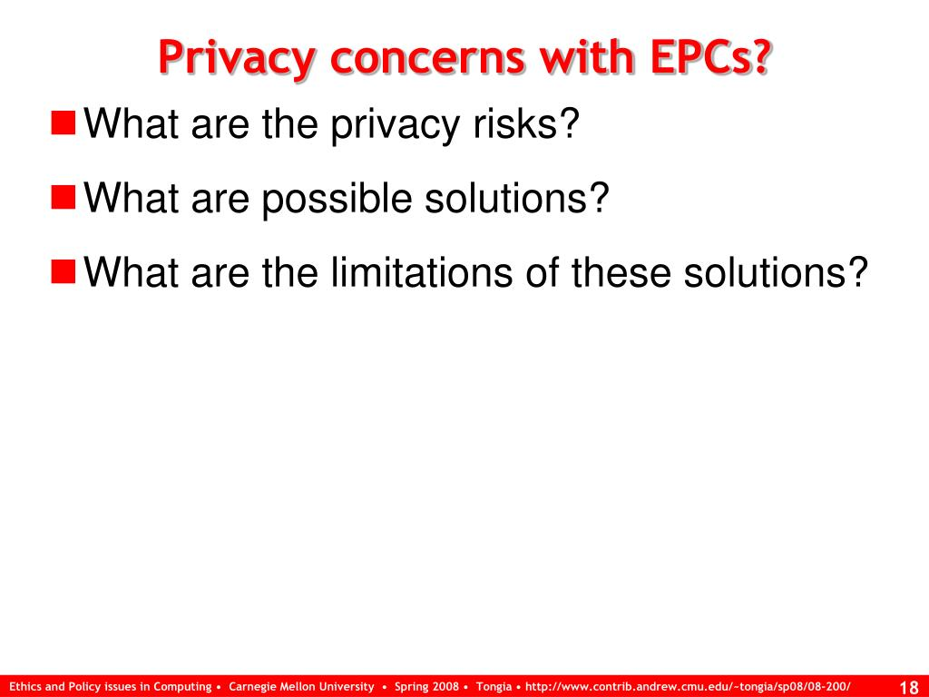 Privacy concerns with EPCs?