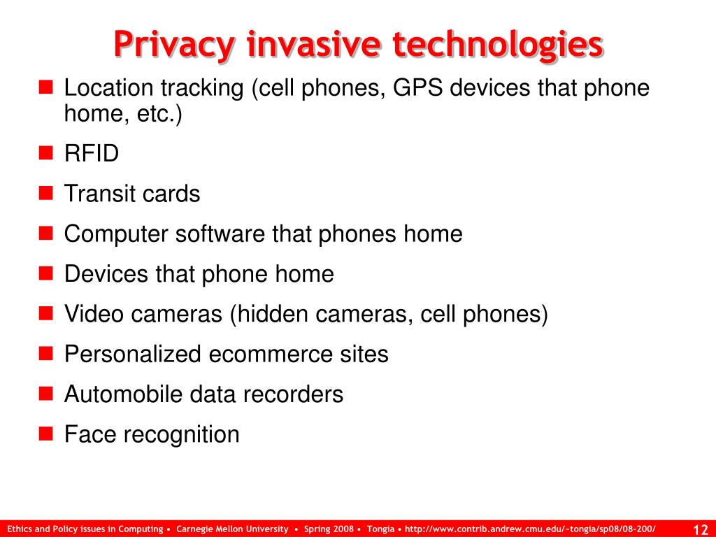 Privacy invasive technologies