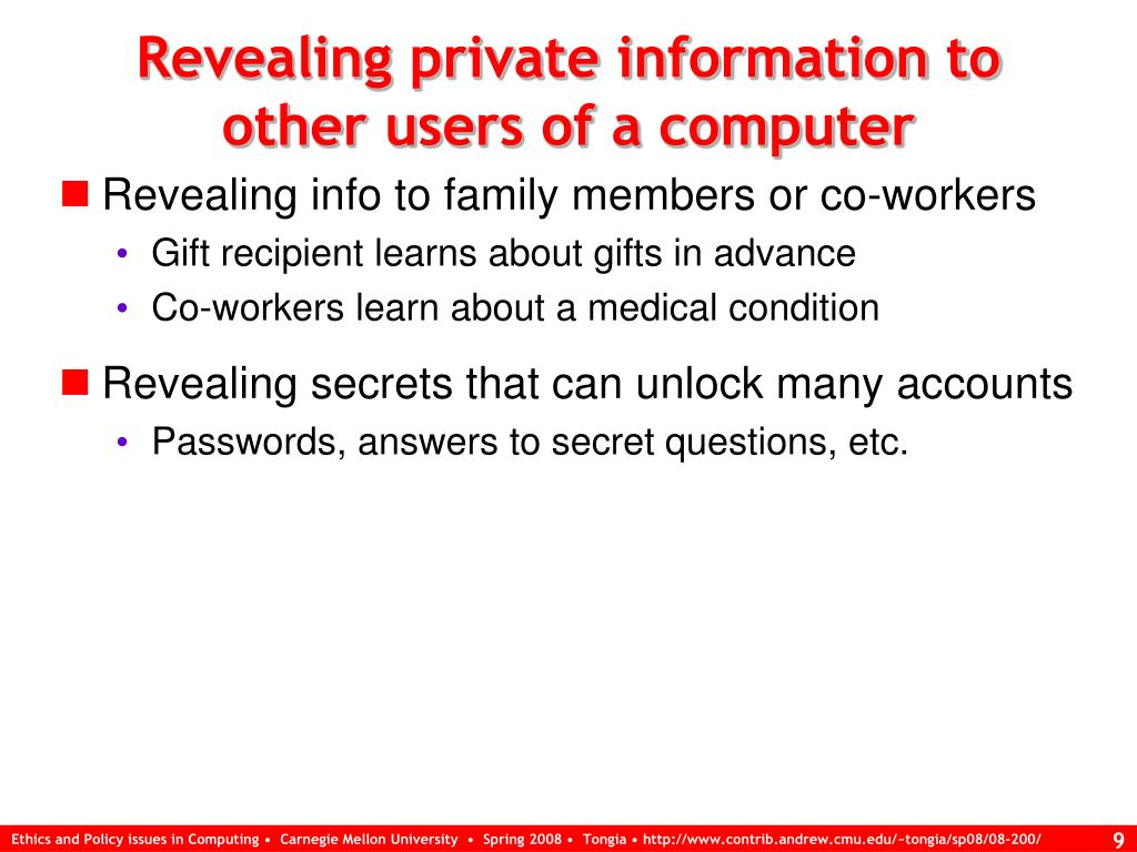 Revealing private information to other users of a computer