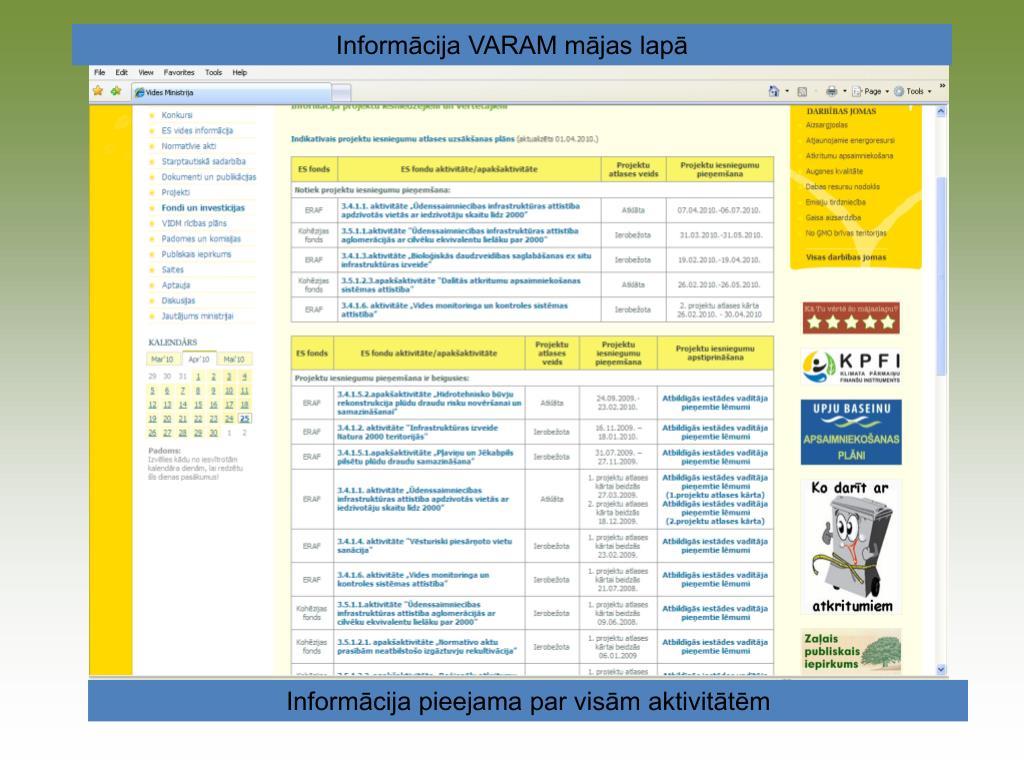 Informācija VARAM mājas lapā
