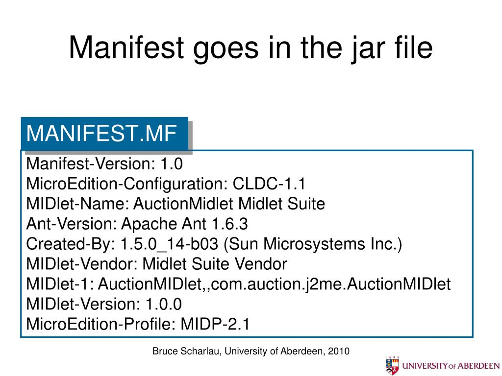 Manifest goes in the jar file