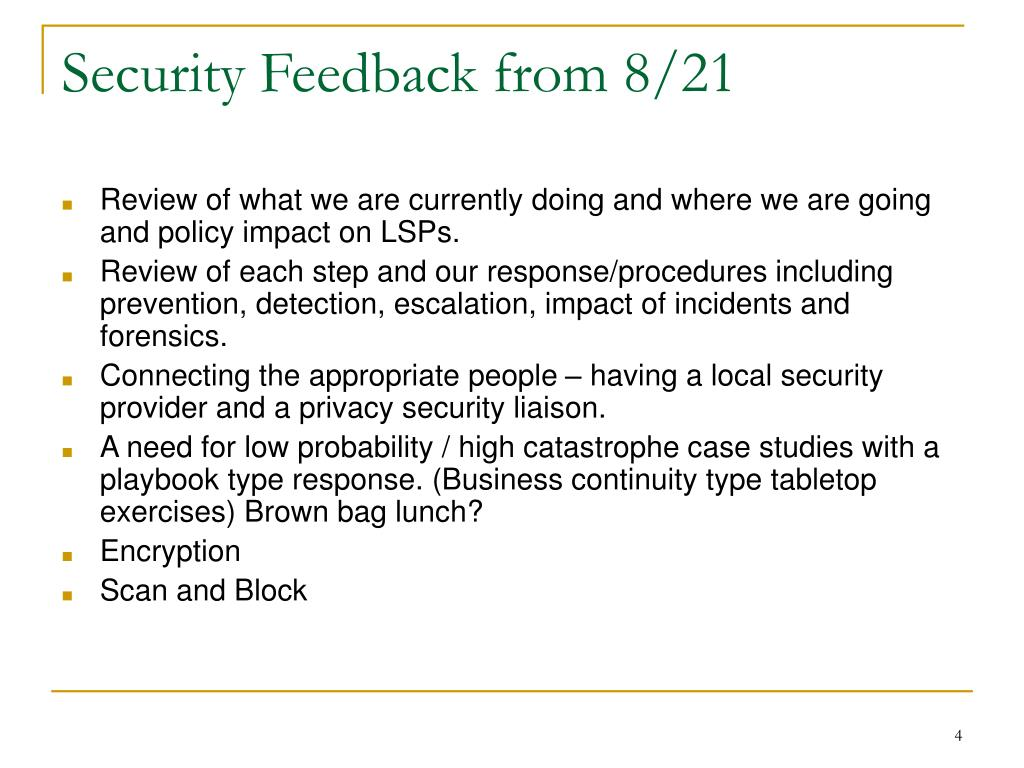 Security Feedback from 8/21
