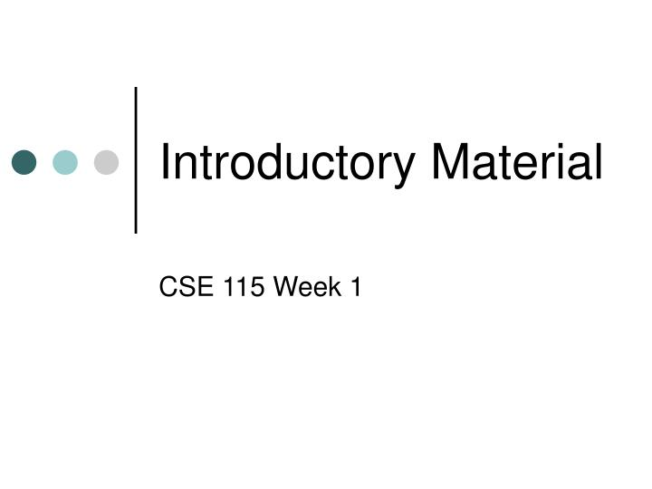 Introductory material