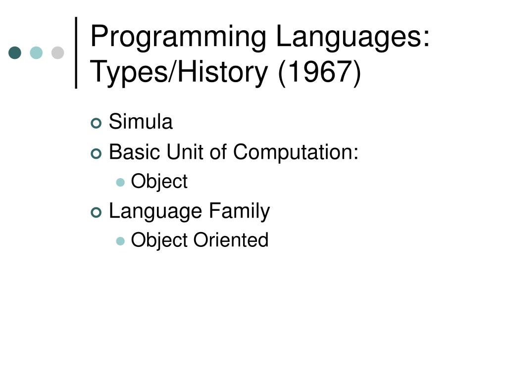 Programming Languages: Types/History (1967)