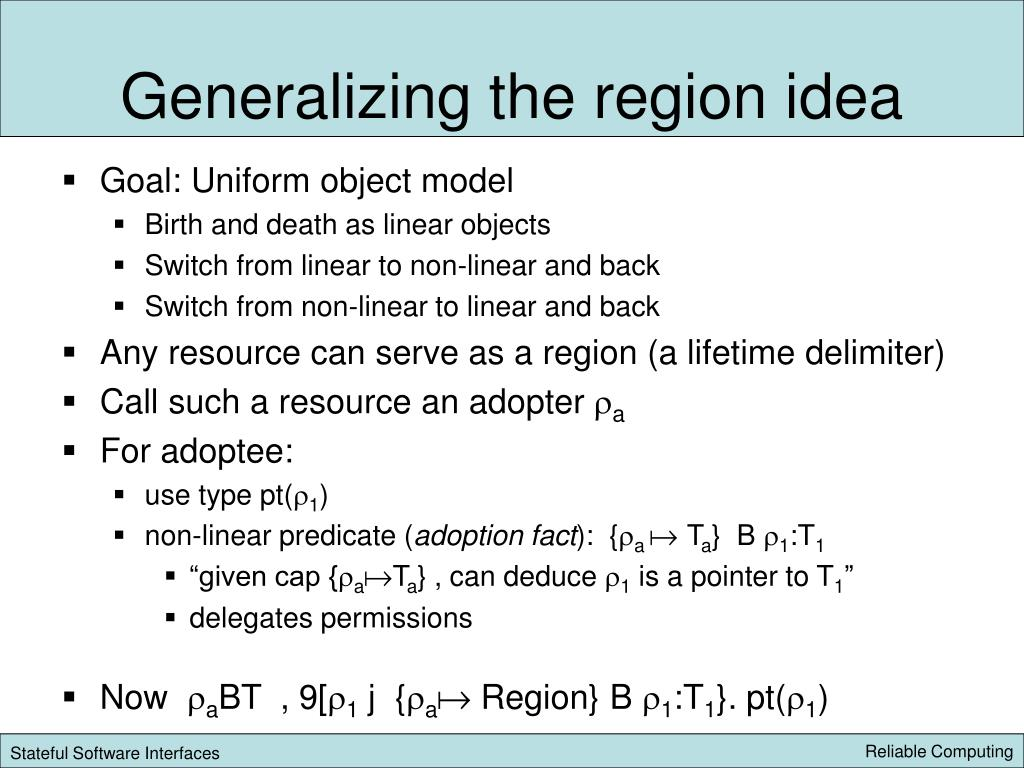Generalizing the region idea