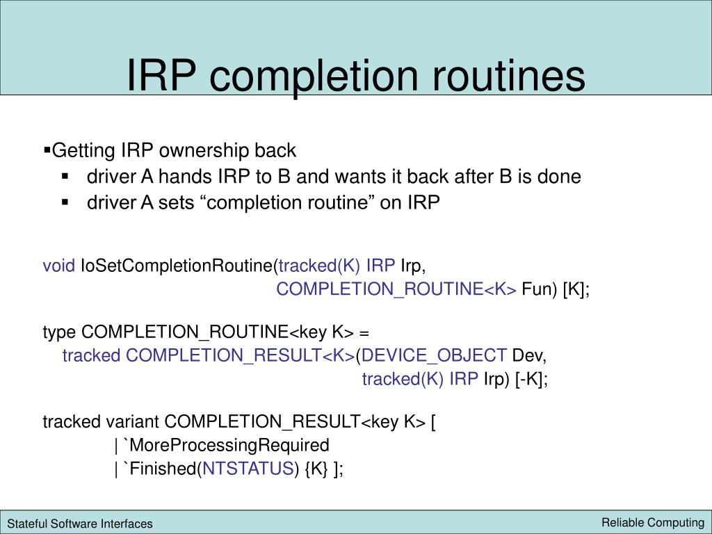 IRP completion routines