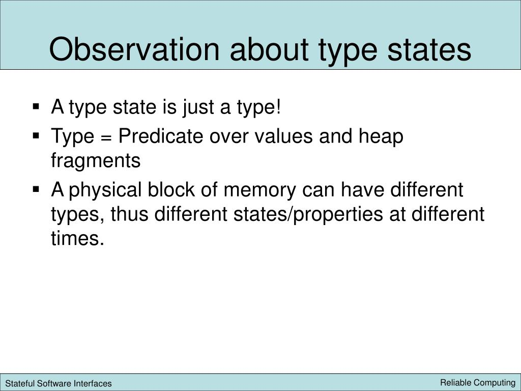 Observation about type states