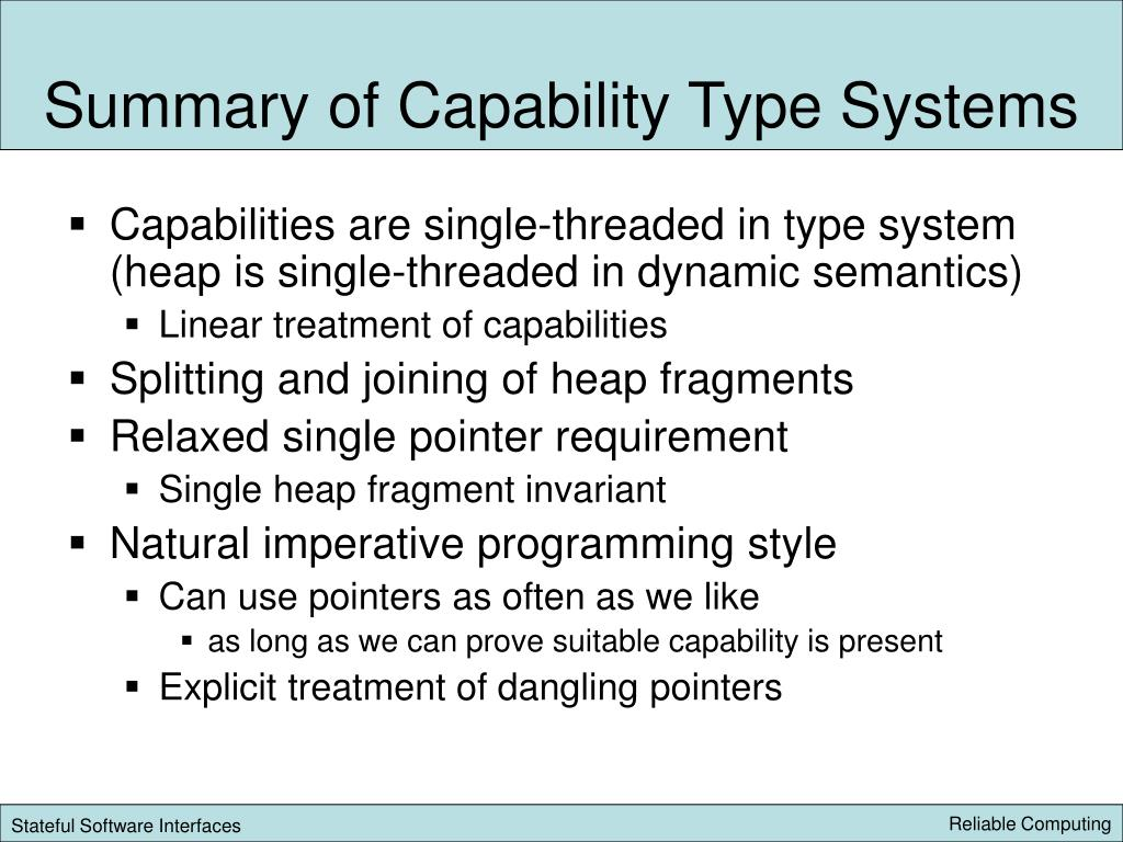 Summary of Capability Type Systems