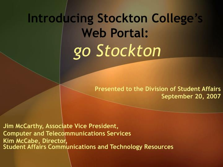 Introducing stockton college s web portal go stockton