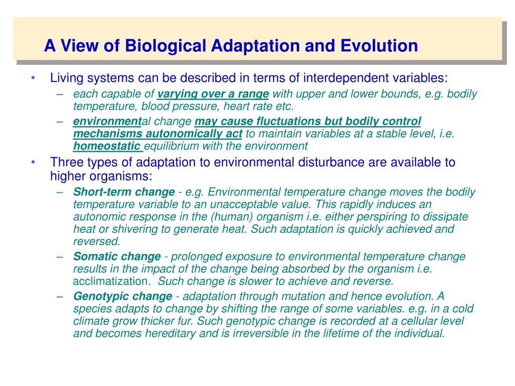 A View of Biological Adaptation and Evolution