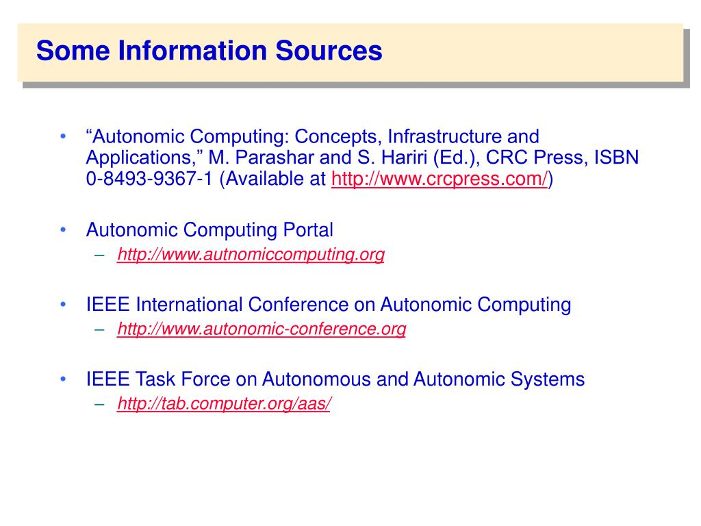 Some Information Sources