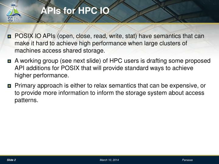 Apis for hpc io
