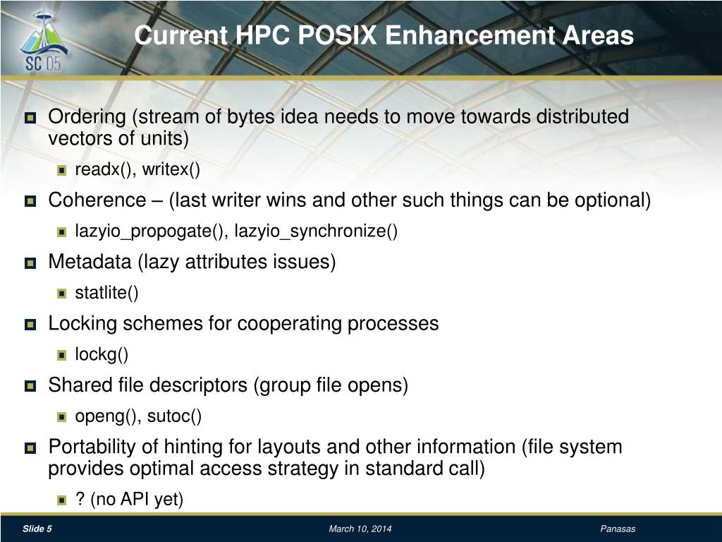 Current HPC POSIX Enhancement Areas