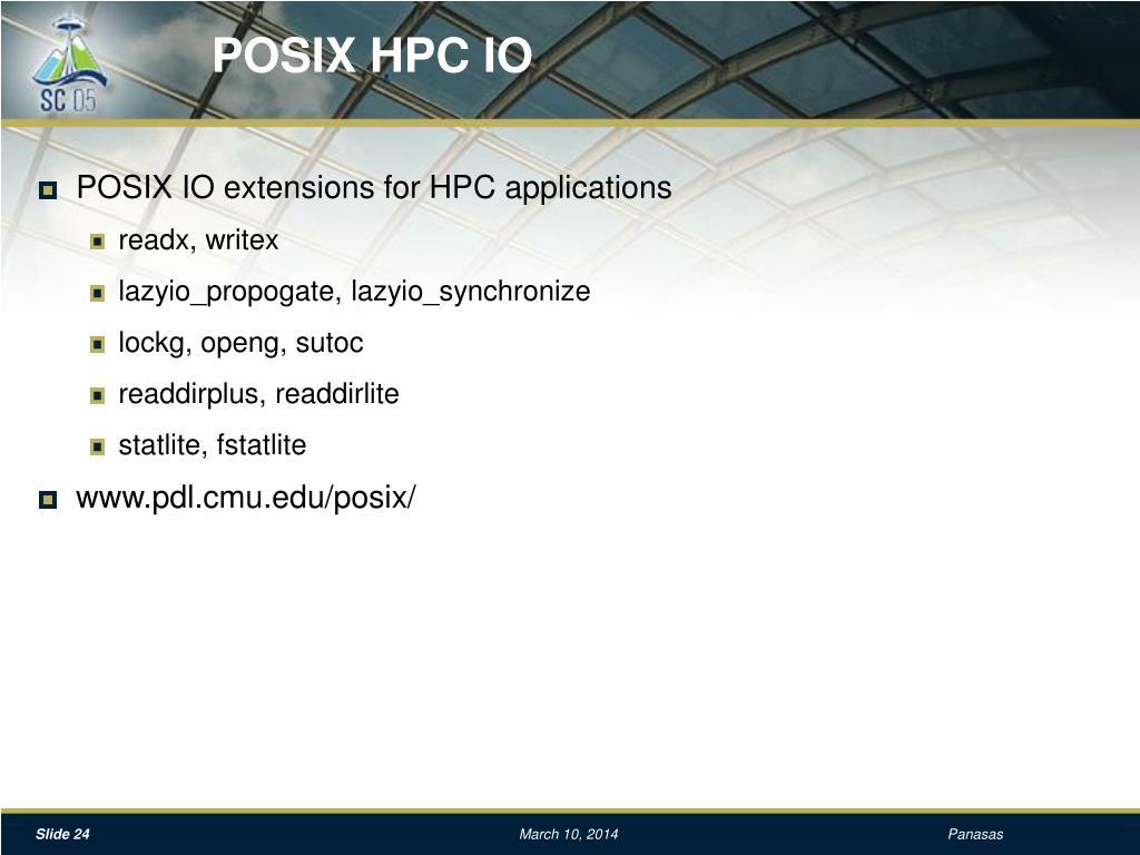 POSIX HPC IO