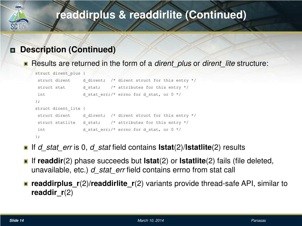 readdirplus & readdirlite (Continued)