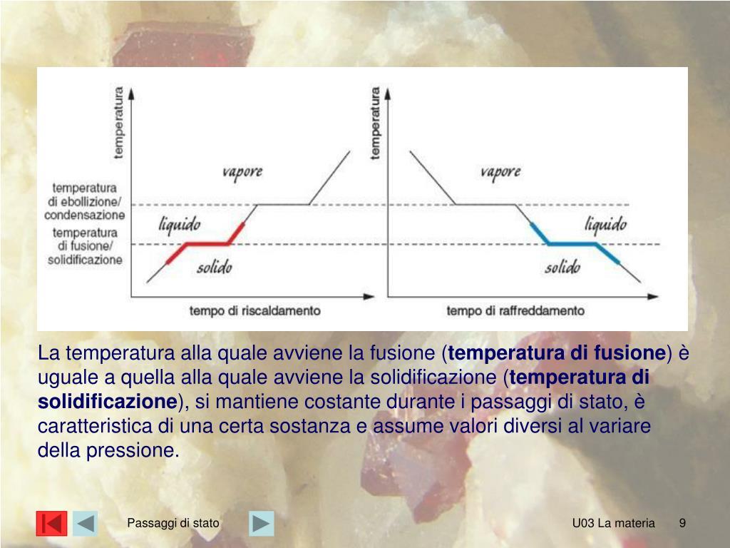 La temperatura alla quale avviene la fusione (