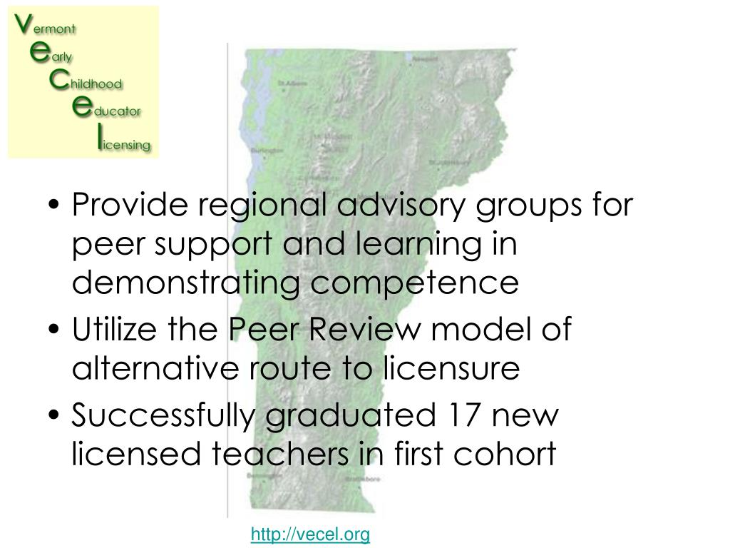 Provide regional advisory groups for peer support and learning in demonstrating competence
